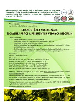Pozvánka Etické otázky socializácie