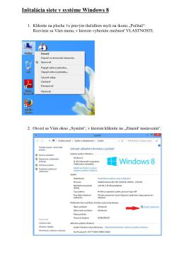 Inštalácia siete v systéme Windows 8
