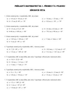 príklady z matematiky na 1. písomku v ii. polroku sínusová veta