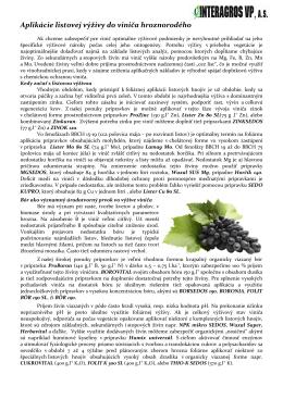 Aplikácie listovej výživy do viniča hroznorodého