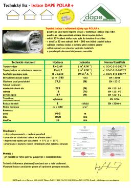 Technický list - izolace DAPE POLAR+