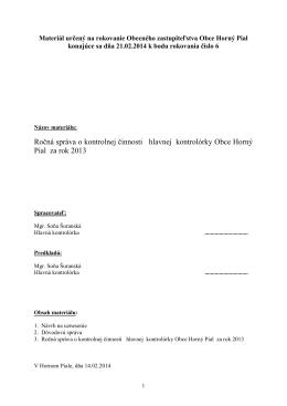 Správa HK o vykonanej kontrole na rokovanie