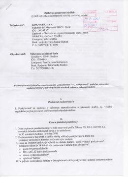 Poskytovatel` Zmluva o poskytnuti sluzieb (§ 269 OZ OBZ o