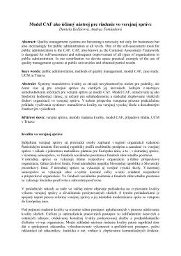 Model CAF ako účinný nástroj pre riadenie vo verejnej správe