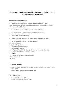 Uznesenie VZ SPS v Trenčianskych Tepliciach 2013