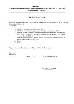 Uznesenia 3. mimoriadneho zasadnutia obecného