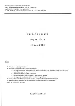 Výročná správa organizácie za rok 2013