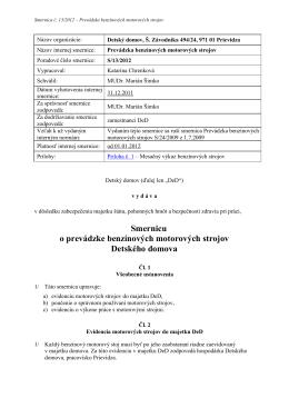 Smernicu o prevádzke benzínových motorových strojov Detského