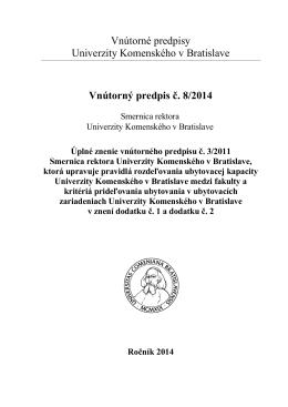 Vnútorný predpis č. 8/2014