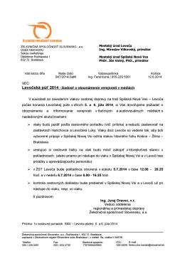 Dopravný režim ŽSR počas púte 2014