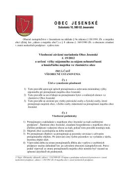 č. 15/2012 o určení výšky nájomného za nájom
