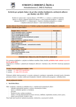 Kritéria prijatia na štúdium - Stredná odborná škola, Hviezdoslavova 5