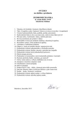 OTÁZKY na skúšku z predmetu HYDROMECHANIKA