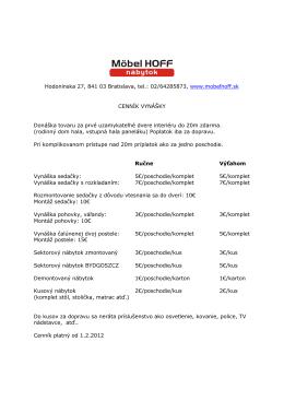 Cenník vynášky | pdf