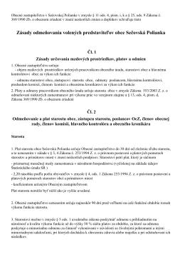 Zásady odmeňovania volených predstaviteľov obce Sečovská