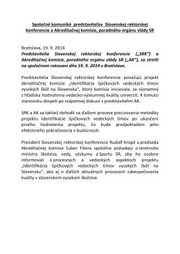 Spoločné komuniké predstaviteľov Slovenskej rektorskej