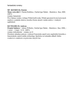 fantastické romány 907 ROTHFUSS, Patrick Meno vetra diel 1