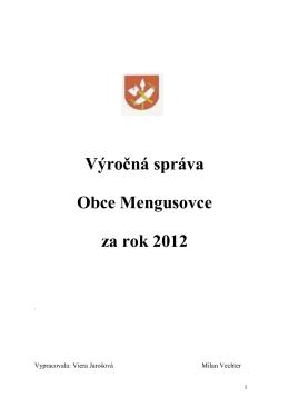 Výročná správa Obce Mengusovce za rok 2012