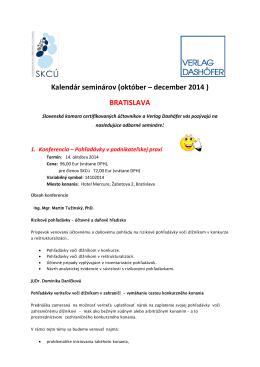 Kalendár seminárov (október – december 2014 ) BRATISLAVA