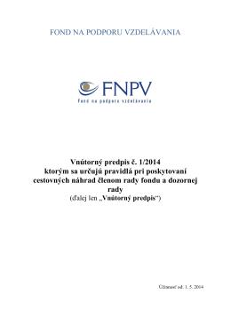 Vnútorný predpis č. 1/2014 - Fond na podporu vzdelávania
