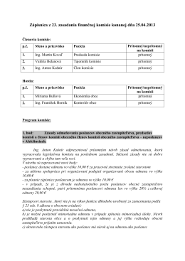 Zápisnica z 23. zasadania finančnej komisie konanej