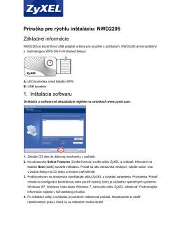 Príručka pre rýchlu inštaláciu: NWD2205 Základné