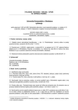 Univerzita Komenského v Bratislave vyhlasuje podľa ustanovení