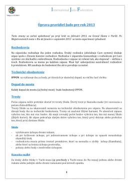 Zmeny pravidiel judo na 2013