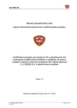 Certifikačný poriadok - KCA
