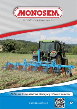 plečka pre široko-riadkové plodiny a pestovanie zeleniny
