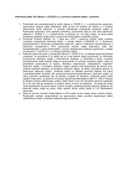 Informácie podľa §15 zákona č. 122/2013 Z.z. o ochrane
