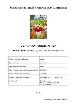 Výchovný program ŠKD 2013 - 2017