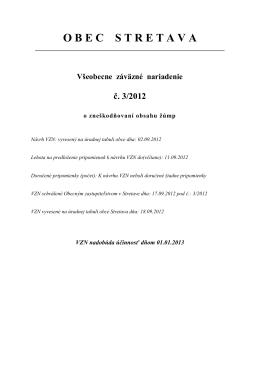 VZN č. 3/2012 o zneškodňovaní obsahu žúmp