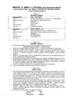 ZMLUVA O DIELO č. O5/2014. číslo zhotoviteľa 400120 uzavreté