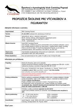 propozície školenie pre výcvikárov a figurantov - ZŠK-SR