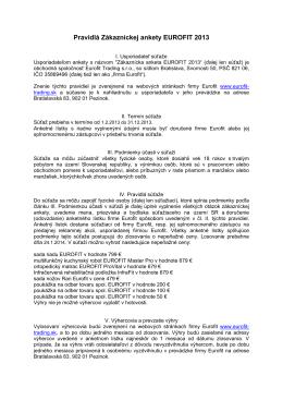 Pravidlá Zákazníckej ankety EUROFIT 2013