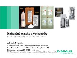 Dialyzačné roztoky a koncentráty na prípravu