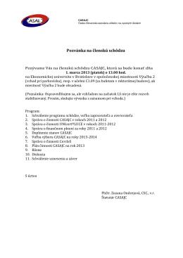 Pozvánka na členskú schôdzu