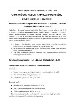 Podmienky a kritériá prijímacieho konania do 1. ročníka 8