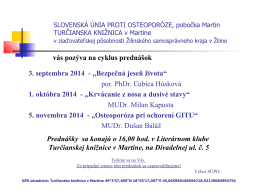 vás pozýva na cyklus prednášok 3. septembra 2014