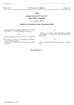 408/2010 Nariadenie vlády Slovenskej republiky, ktorým sa