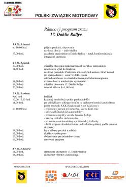 Rámcový program zrazu 17. Dahlie Rallye