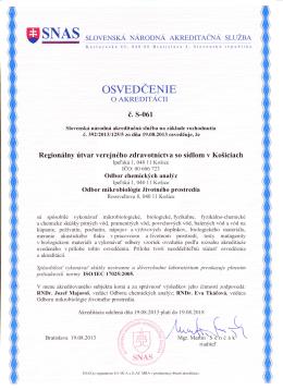 Odbor chemických analýz - Regionálny úrad verejného