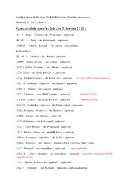 Seznam silnic uzavřených dne 3. června 2013 :