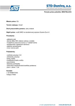 Ponuka práce pobočka: BRATISLAVA Miesto - STD