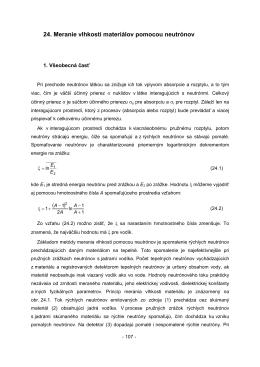 24. Meranie vlhkosti materiálov pomocou neutrónov