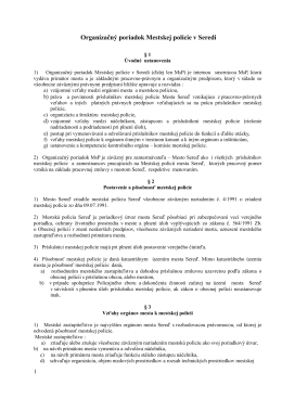 Organizačný poriadok Mestskej polície v Seredi