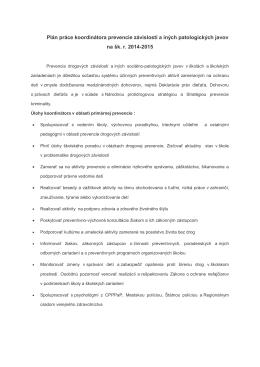 Plán práce v oblasti prevencie v šk. roku 2014/2015