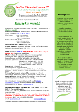 Klasická masáž - Masérska škola REMINY