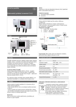 Návod na použitie Elektronický príložný termostat